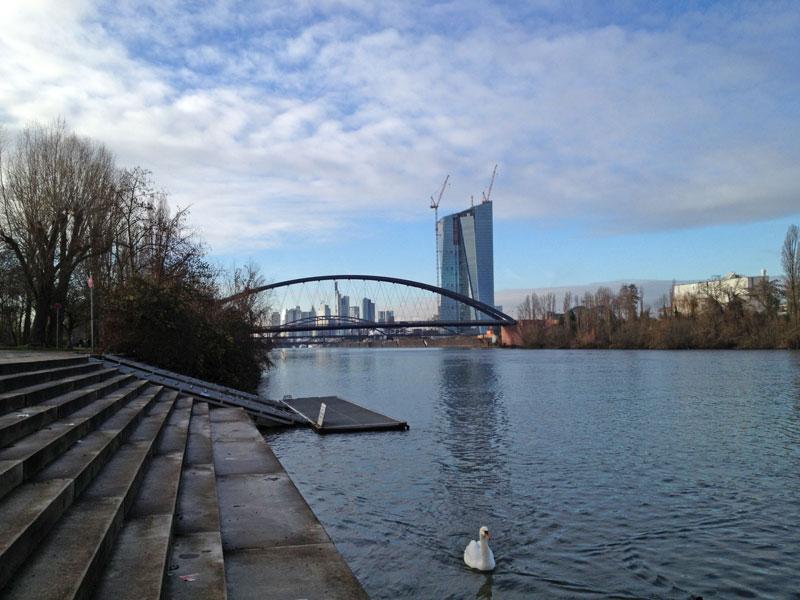 Osthafenbrücke mit EZB, gesehen vom Rudererdorf aus
