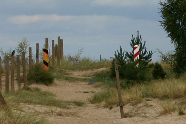 Grüne Grenze zwischen Deutschland und Polen am Strand von Usedom