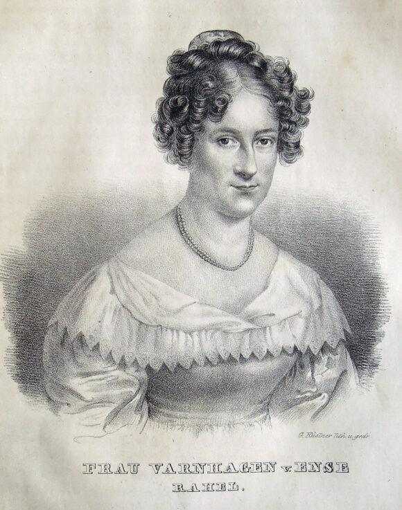 Porträt Rahel Varnhagen. Lithographie (1834) von Gottfried Küstner nach Moritz Daffingers Pastell von 1818