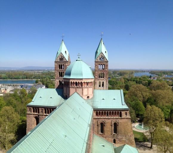 Blick vom Turm Richtung Rhein.