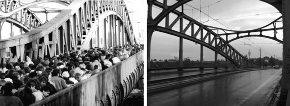 Bösebrücke über die Bornholmer Straße: Links im November 1989, rechts im Mai 2013