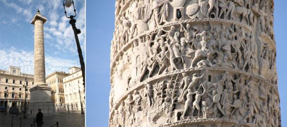 Piazza Colonna mit der Marc-Aurel-Säule, dem Palazzo Chigi (Gebäude ganz rechts) und dem Parlamentsgebäude links daneben. Die Reliefs auf der Säule berichten von den ruhmreichen Siegen des Kaisers.
