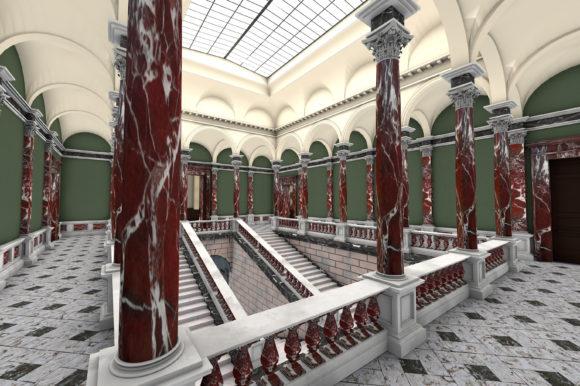 Das Treppenhaus im Museumsneubau von 1878. Bild: Städel Museum