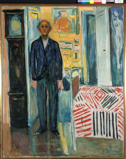 Munch: Selbstporträt zwischen Uhr und Bett (1940-43), Munch Museum Oslo
